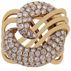 Round Brilliant Diamond Pave Abstract Ring