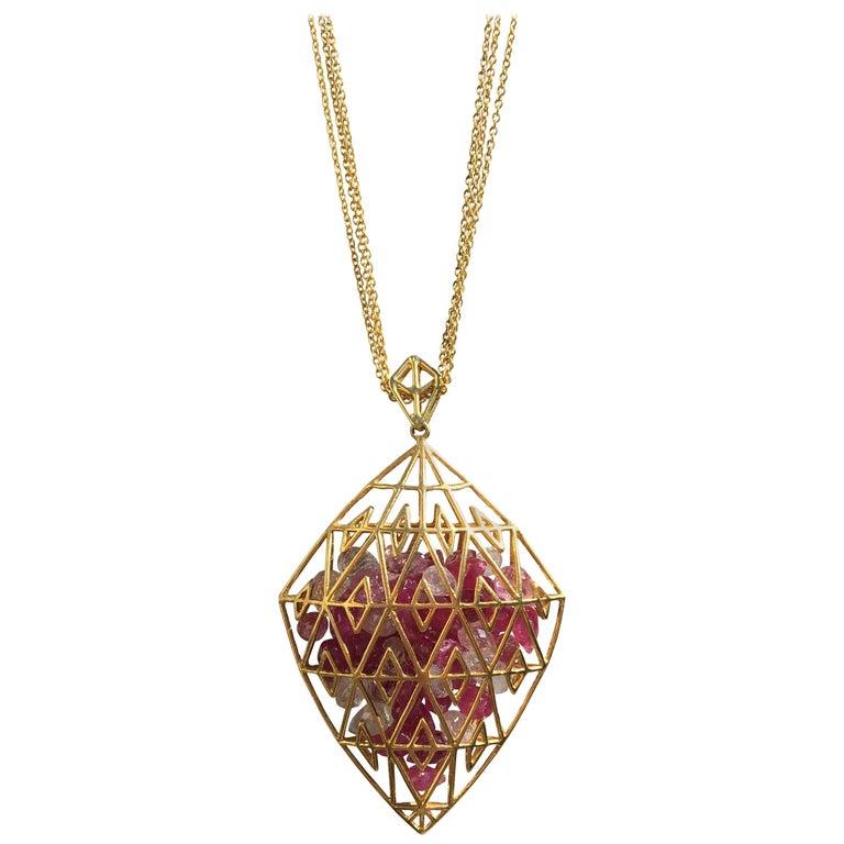 Lauren Harper Collection Pink Sapphires Yellow Gold Pendant Necklace