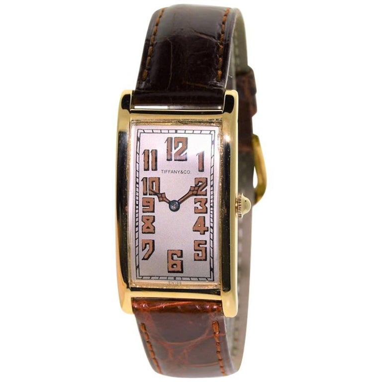 Tiffany & Co. Yellow Gold Art Deco International Watch Co. Rectangle Watch