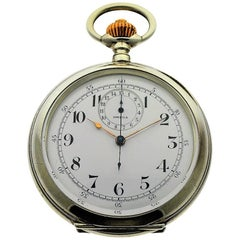 Omega Silver Single Button 15 Minute Register Pocket Watch, circa 1910