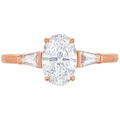 Marisa Perry Three-Stone Engagement Ring Oval Tapered Baguettes in Rose Gold