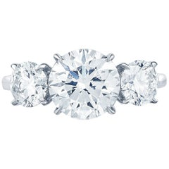 Three-Stone Round Brilliant Engagement Ring in Platinum