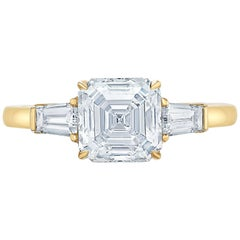 Three-Stone Asscher Baguette Diamond Yellow Gold Engagement Ring