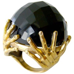 Smokey Quartz Bronze Surrealist Hands Cocktail Ring