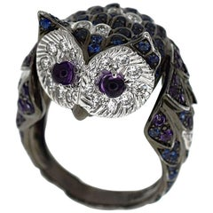 Boucheron the Owl Chouette 18 Karat White Gold Black Gold Ring