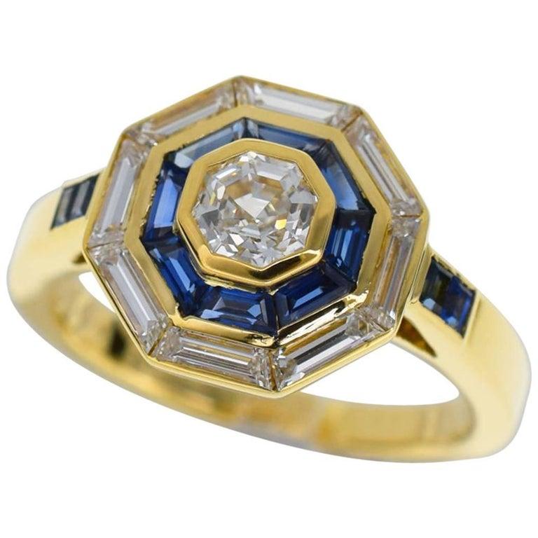 Mellerio Dits Meller 18 Karat Yellow Gold Diamond Sapphire Ring