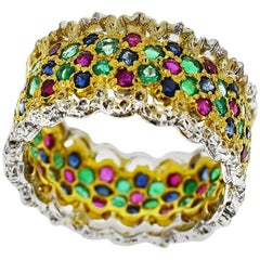 Gianmaria Buccellati Mosaic Style 18 Karat Yellow White Gold Ring