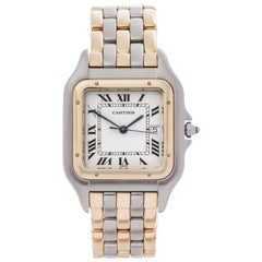 Cartier Yellow Gold Stainless Steel Panthere Three-Row Automatic Wristwatch