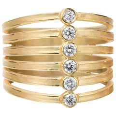Barbara Heinrich White Diamond Gold Zipper Ring