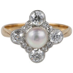 Edwardian Certified Natural Pearl 1.0 Carat Diamond Rare Ring