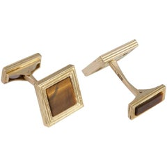 Daou Yellow Gold and Tiger's Eye Textured Handmade Square Cufflinks