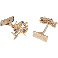 Daou Yellow Gold and Sapphire Handmade Textured Precious Branches Cufflinks