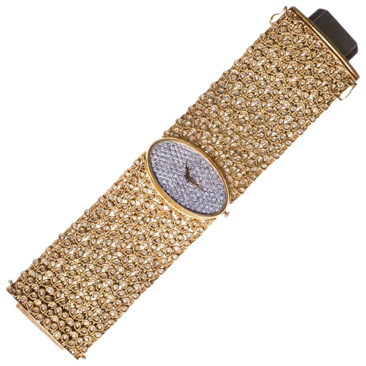 1970s Chopard Yellow Gold Diamond Bracelet Wristwatch