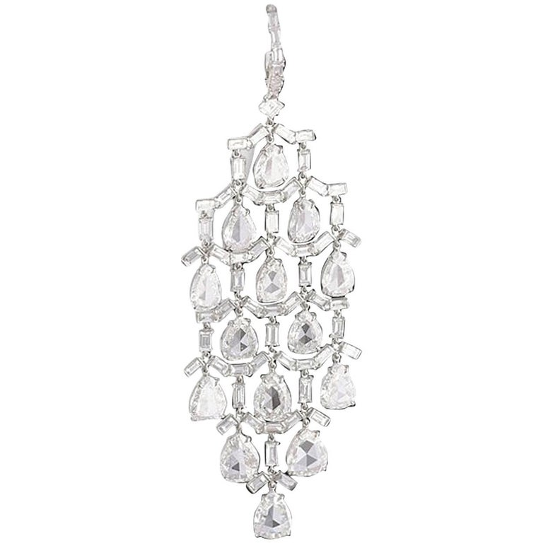 Pear and Baguette-Cut Diamond Chandelier Earrings