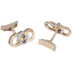 Daou Yellow Gold and White Gold Hand Textured Circle Link Sapphire Cufflinks