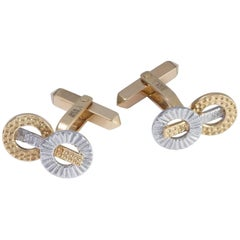 Daou White and Yellow Mixed Gold Hand Textured Circles and Bar Contrast Cufflink