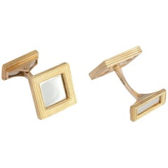 Daou Yellow and White Mixed Gold Textured Mirror Handmade Square Cufflinks