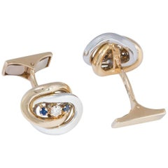 Daou Yellow Gold and White Gold Mixed Links Sapphire and Diamond Cufflinks