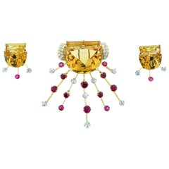 Fantastic 1950s Citrine Ruby and Diamond Brooch and Earring Set