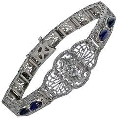 Art Deco Diamond Platinum Gold Bracelet, circa 1930