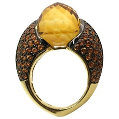 Gold Lady Ring Yellow Citrine and Orange Sapphire Band Ring