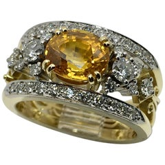 Gold Yellow Sapphire Diamond Ring, handmade