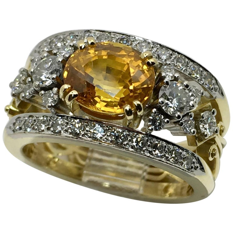 Gold Yellow Sapphire Diamond Ring
