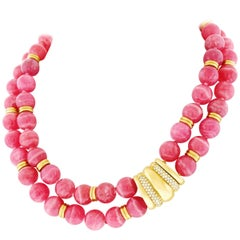 Rhodochrosite Necklace with Diamond Set Gold Clasp