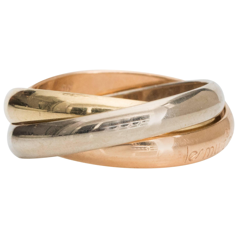 Les Must De Cartier Trinity Band TriColor 18K Gold Ring