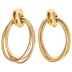 1990s Cartier TriColor 18K Gold Large Oval Drop Earring