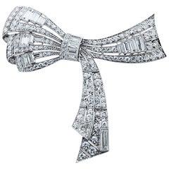 Platinum Art Deco Diamond Bow Brooch Necklace