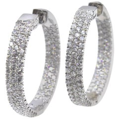 Modern 5.50 Carat Diamond In and Out Hoop White Gold Earrings