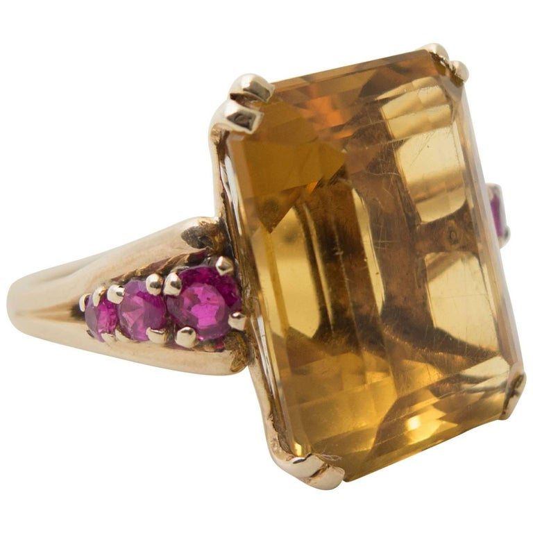 Retro Citrine and Ruby Gold Ring 1