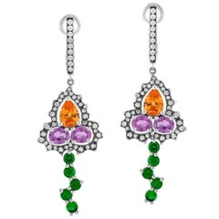 Bella Campbell/Campbellian Mandarine Garnet Purple Sapphire and Diamond Earrings