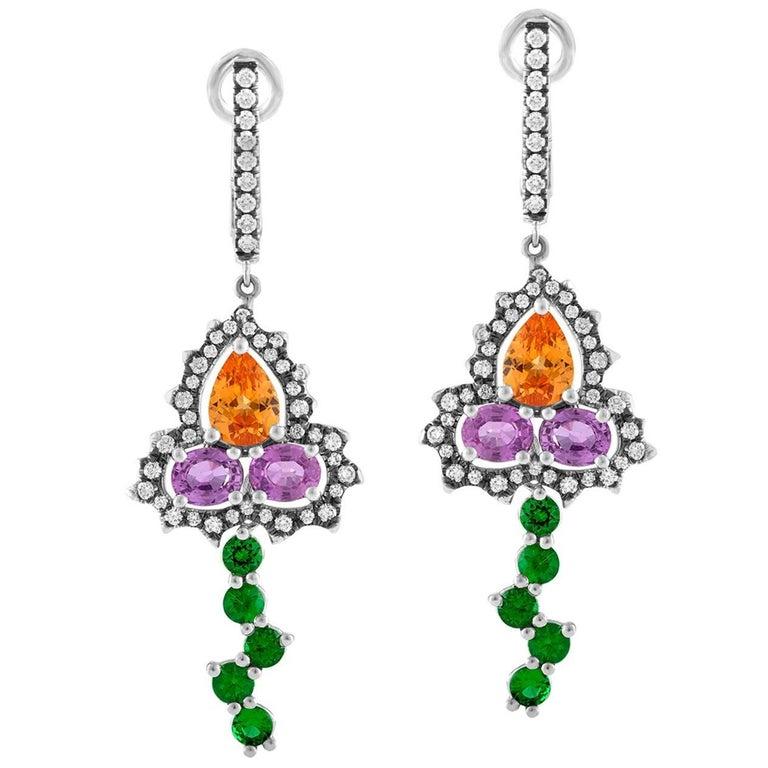 Bella Campbell/Campbellian Mandarine Garnet Purple Sapphire and Diamond Earrings