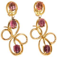 1950s Ilias Lalaounis Greece Pink Tourmaline 18 Karat Yellow Gold Drop Earrings