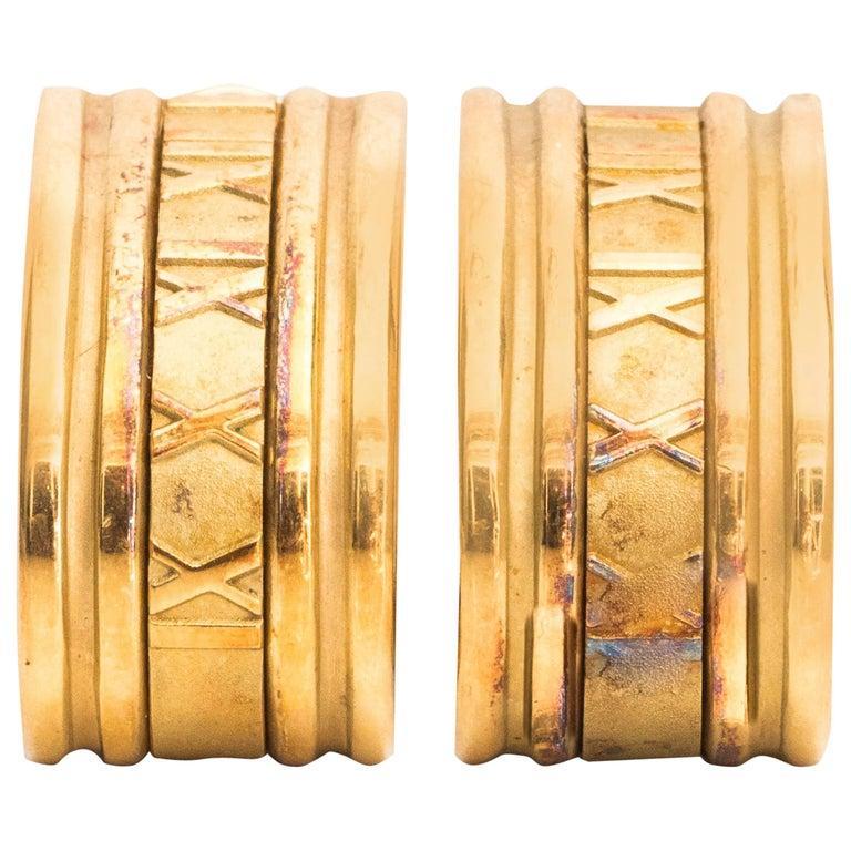 1990s Tiffany & Co. Atlas 18K Gold Hoop Earrings