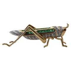 Grasshopper Emerald Diamond Gold Pin Brooch