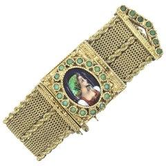 1950s Vintage Mesh Gold Bracelet Portrait Cover Watch