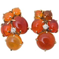 Seaman Schepps Fire Opal Diamond Clip on Earrings