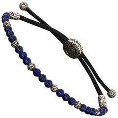 John Hardy Lapis and Silver Beaded Classic Chain Cord Bracelet