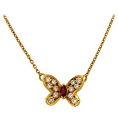 Van Cleef & Arpels Diamond Ruby Yellow Gold Butterfly Pendant Necklace
