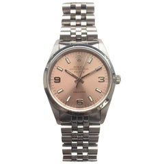 Rolex Stainless Steel Oyster Perpetual Pink Dial Air-King Automatic Wristwatch