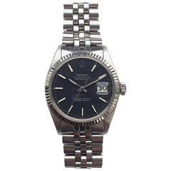 Rolex White Gold and Stainless Black Dial Oyster Perpetual Datejust Wristwatch