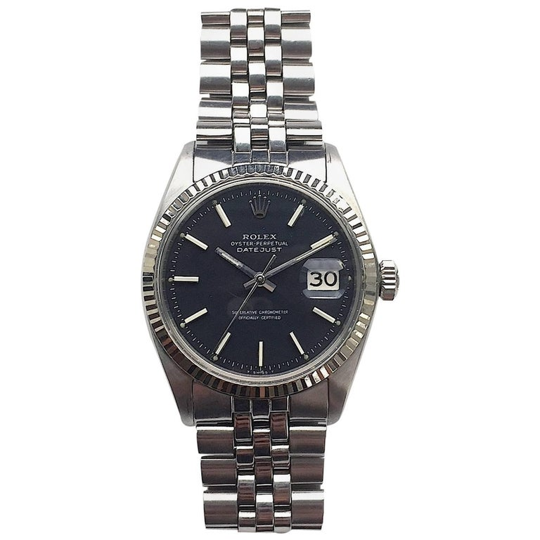 Rolex White Gold And Stainless Black Dial Oyster Perpetual Datejust
