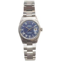 Rolex Stainless Steel Blue Buckley Dial Datejust Wristwatch