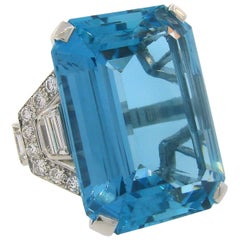 Asprey Aquamarine Diamond Platinum Cocktail Ring, Art Deco 1930s