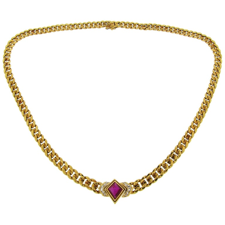 Bulgari Ruby Diamond Yellow Gold Chain Necklace, 1970s