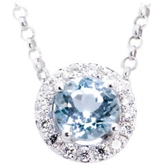 Very Fine Aquamarine Diamond Pendant Necklace