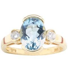 Aquamarine Diamond Engagement or Cocktail Ring